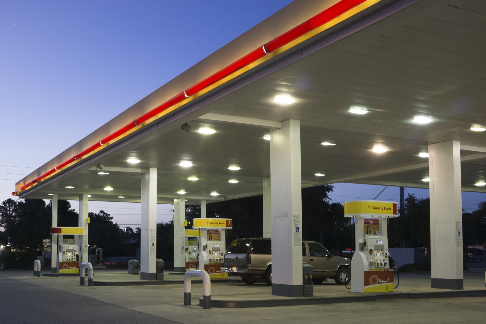LED lighting for petrol stations